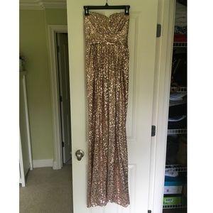 Badgley Mischka Gold Sequin Strapless Formal Gown